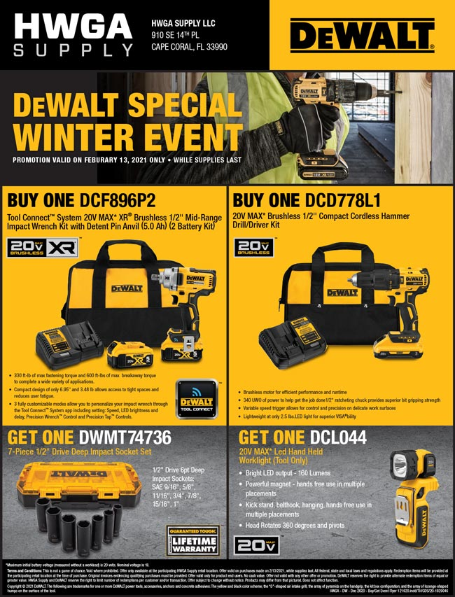 DeWalt Buy and Get Event Cape Coral